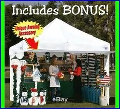 ❥ EZ UP Canopy 10 x 10 Tent Instant Shelter White - Awning - 4 Zipper sidewalls Canopy Frame, Canopy Tent, Tents, Canopies, Ez Up Tent, Craft Fair Displays, Display Ideas, Vendor Displays, Booth Displays