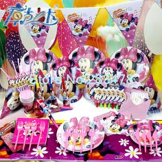 2013 New 60pcs Kids Birthday Party Decoration Set Birthday Minnie Mouse Theme Party Supplies Baby Birthday Party Pack $24.90 @Paloma Cunha