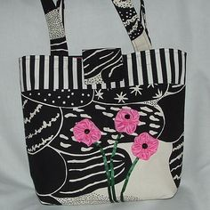 Funky Canvas Tote with Pink Flowers by wiredroxz on Etsy Fashion Handbags, Pink Flowers, Diaper Bag, Canvas, Trending Outfits, Unique Jewelry, Handmade Gifts, Etsy, Vintage
