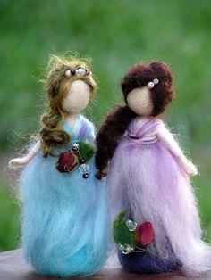 Items similar to Needle felted Waldorf inspired Little standing fairies on Etsy Nuno Felting, Needle Felting, Felt Crafts, Fabric Crafts, Hedgehog Craft, Felt Angel, Felt Fairy, Felt Decorations, Felt Patterns