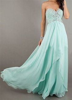 Turquoise Backless Prom Dress