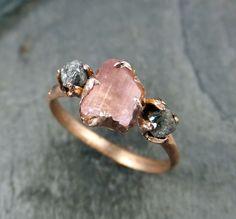 Raw Pink Tourmaline Diamond 14k Rose Gold