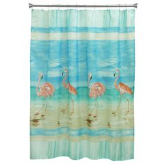 Transform the look and feel of your bathroom with the Flamingo Beach Shower Curtain. Boasting charming, seaside style, this artful curtain brings a fresh splash of color to your décor with a beautiful flamingo design, printed in rich, bright aqua hues. Flamingo Beach, Flamingo Bird, Pink Flamingos, Flamingo Garden, Pink Beach, Pink Bird, Flamingo Print, Flamingo Shower Curtain, Beach Shower Curtains