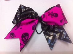 Pink skulls and holographic chevron cheer bow https://www.facebook.com/pages/Spotlight-Cheer-Bows-Accessories/342867052499012