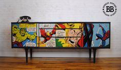 Upcycled vintage sideboard decoupged with Marvel decoupage