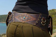 """Leather Utility Hip Belt baG - """" Brown LeaF """" - BROWN // leather belt with pockets.. $120.00, via Etsy."""