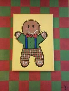 Gingerbread man canvas painting