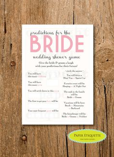INSTANT UPLOAD Bridal Shower Game Predictions by PaperEtiquette