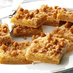 Butterscotch-Toffee Cheesecake Bars Recipe from Taste of Home -- shared by Pamela Shank of Parkersburg, West Virginia