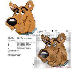 Small Scooby Doo cross stitch pattern with back stitch 28 x 31 stitches