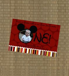 Mickey Mouse Invitation - First Birthday Mickey Invitation - Mickey Mouse Clubhouse - Red and Black on Etsy, $15.00