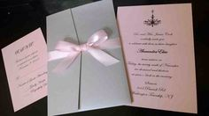 Silver and Light Pink Chandelier Sweet 16 or Quinceanera Invitation Set  Shimmering Silver Pocketfold, light pink cardstock, satin bow and topped with a Swarovski Crystal.  Beautiful, elegant, sophisticated and stunning.