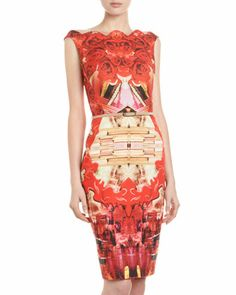 Rose-Print Scalloped-Neck Dress, Red by Single at Last Call by Neiman Marcus.