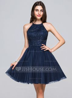 A-Line/Princess Scoop Neck Short/Mini Tulle Lace Homecoming Dress With Beading Sequins Bow(s) Pleated (022068044) #jjshouse