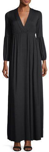 Rachel Pally Celestia Lantern-Sleeve Surplice-Neck Maxi Dress, Plus Size