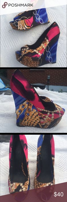 """Also wedges NICE Gorgeous chain multi color design heel total height 7"""" ALDO Shoes Wedges"""