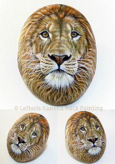 Lion Portrait, Commissioned Painted Rock by Lefteris Kanetis!