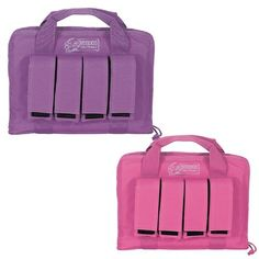 This pistol case in hot pink or purple will accommodate two hand guns and up to 4 magazine pouches.