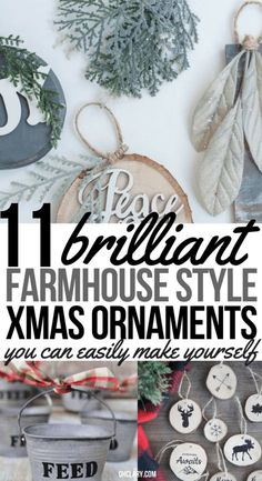 11 Diy Farmhouse Style Christmas Ornaments That Are Simple To Make That Will Bring The Perfect Rustic Look To Your Home. Ideal For Christmas Joanna Gaines Would Be Proud Of These Farmhouse Crafts Add Them To Your Christmas Tree Or Mantle. Rustic Christmas Ornaments, Merry Christmas, Farmhouse Christmas Decor, Outdoor Christmas Decorations, Christmas Crafts, Christmas Ideas, Fireplace Decorations, Diy Ornaments, Christmas Traditions