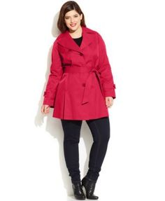 DKNY Plus Size Buttoned Trench Coat