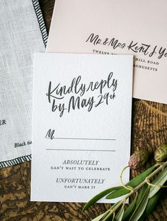 Modern calligraphy wedding RSVP card | Arielle Doneson Photography via Oh So Beautiful Paper