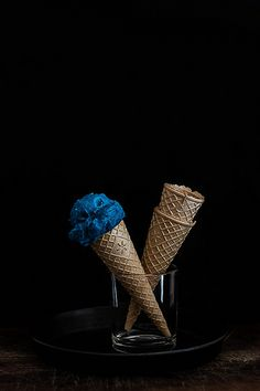 blue Ice cream cone and empty cones