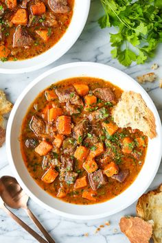 Sweet Potato Beef Stew - The coziest beef stew with the most tender chunks of beef and sweet potato that just melt in your mouth! And it's FREEZER-FRIENDLY! Slow Cooker Recipes, Beef Recipes, Healthy Recipes, Potato Recipes, Recipes With Sweet Potatoes, Healthy Meals, Yummy Recipes, Soup Recipes, Healthy Food