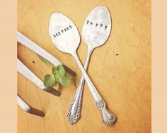 Spoon Herb Markers - Set of Two 2 Labels - Garden Labels - Antique Silver Plated - Hand Stamped - Folk Art - Custom - Vintage - Fun - Art via Etsy