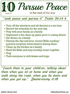 Free Christian Printable to Pursuing Peace at Night from Moms Mustard Seeds