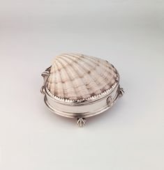cultureandkitsch:  Box with shell, c.1600-25, England, silver and scallop shell, Ashmolean Museum.  From the Ashmolean:  This is the only si...