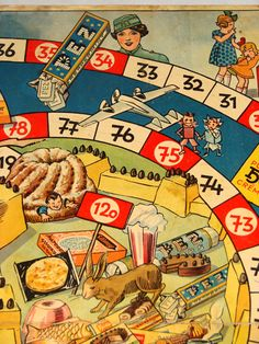 1930's PEZ Game board ~ Adorable embellishment for vintage childhood scrapbook page...soo cute!