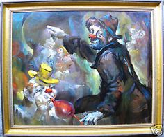 Clown Oil Paintings | ... Julian Ritter MARVELOUS Large Modernist Clowns Oil Painting NO RESERVE