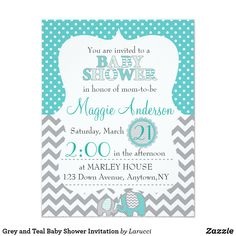 Grey and Teal Baby Shower Invitation Cute grey and teal baby shower invitation that is suitable for either gender.