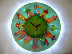 Houses Wall Clock and Nursery Lighting Baby Night Light Hand Painted Unique Large Glass Wall Clock New Baby Gift Boys Room Decor LED Light Wall Clock Light, Wall Clocks, New Baby Gifts, Gifts For Kids, Led Garland, Clock For Kids, House Wall, Everyday Objects, City Lights