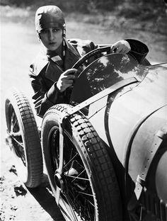 Young woman driving Paris 1928 André Kertész