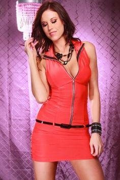 orange zipppered dress