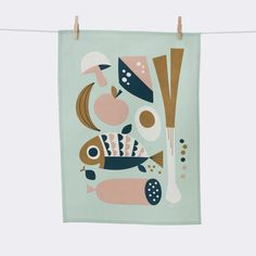 Torchon Grocery - Ferm Living Fond vert menthe Magasins et offres en ligne pas chers Illustration Design Graphique, Illustration Blume, Floral Illustrations, Graphic Design Illustration, Kitchen Prints, Grafik Design, Danish Design, Graphic Design Inspiration, Room Inspiration