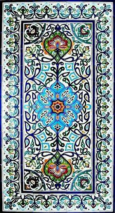 DECORATIVE PERSIAN TILES: Persian design large mosaic panel hand painted wall mural kitchen bath backsplash pool patio art tile x Tile Patterns, Pattern Art, Islamic Art Pattern, Ceramic Mosaic Tile, Iranian Art, Hand Painted Walls, Turkish Art, Ancient Art, Ancient Persian