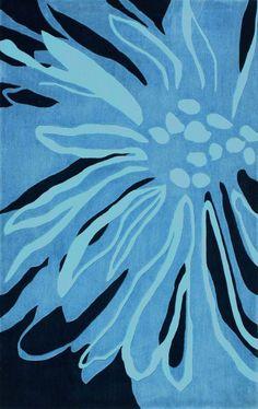 Radiante Floral Transition Blue Rug