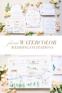 Pink and Green Watercolor Floral Wedding Invitation and Custom Watercolor Map Watercolor Map, Green Watercolor, Watercolor Wedding, Blush Wedding Invitations, Invites, Floral Wedding, Wedding Flowers, Dusty Blue Weddings, Papers Co