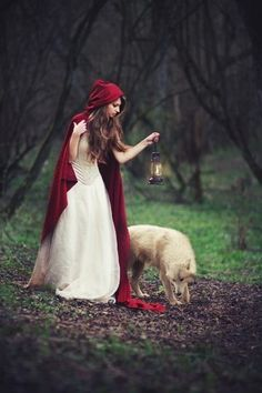Little Red Riding Hood and her wolf I'm looking at the red cap contrasting the wooded area. Red/white on red vs. the brown and green in the wood Estilo Tim Burton, Fuchs Illustration, Red Ridding Hood, Fantasy Photography, Ethereal Photography, Foto Art, Red Hood, Bad Wolf, Little Red