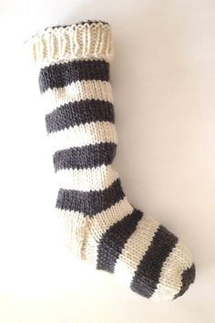 Hand Knit Christmas Stocking Hand Knit Natural White and Gray Striped Santa Sock
