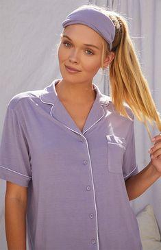 LA Hearts by PacSun Eye Mask and Pajama Set at PacSun.com Fall Must Haves, Matching Pajamas, Pajama Top, Self Care Routine, Night Time, Pj, Hearts, Short Sleeves