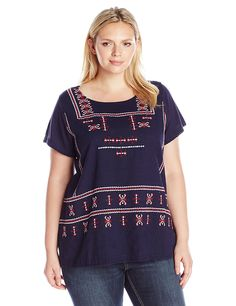 d22a15916cf341 Lucky Brand Women s Plus Size Embroidered Top
