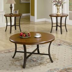 3 Piece Occasional Round Coffee Table and End Table Set. Includes: Coffee Table and 2 End Tables