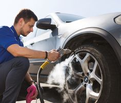 Alloy wheel cleaning with steam cleaner. #wheelcleaning #cardetailing