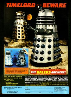 Sevans Models Daleks Ad 1985 by combomphotos 4th Doctor, Second Doctor, Doctor Who Magazine, Doctor Who Episodes, Classic Doctor Who, The Rouge, Sci Fi Comics, Miniature Figurines, Dalek