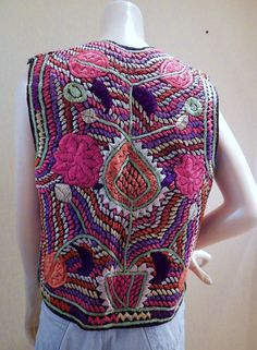 Amazing Vintage Hand Embroidered Vest India 1970s Hippie festival wear