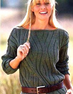 Пуловер с рельефным узором. Вязание пуловеры женщинам спицами | Вязание для всей семьи