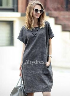Dress - $18.28 - Cotton Linen Solid Short Sleeve Knee-Length Casual Dresses (1955128179)